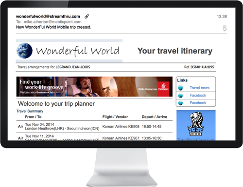 Travel apps and software for travel risk management, merchandising, document delivery
